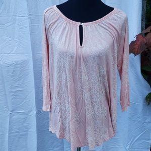 Lucky Brand pink keyhole blouse long hem 1x